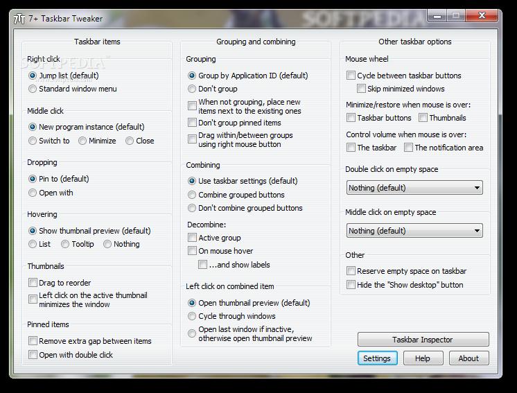 7+ Taskbar Tweaker Portable - Download Free with Screenshots