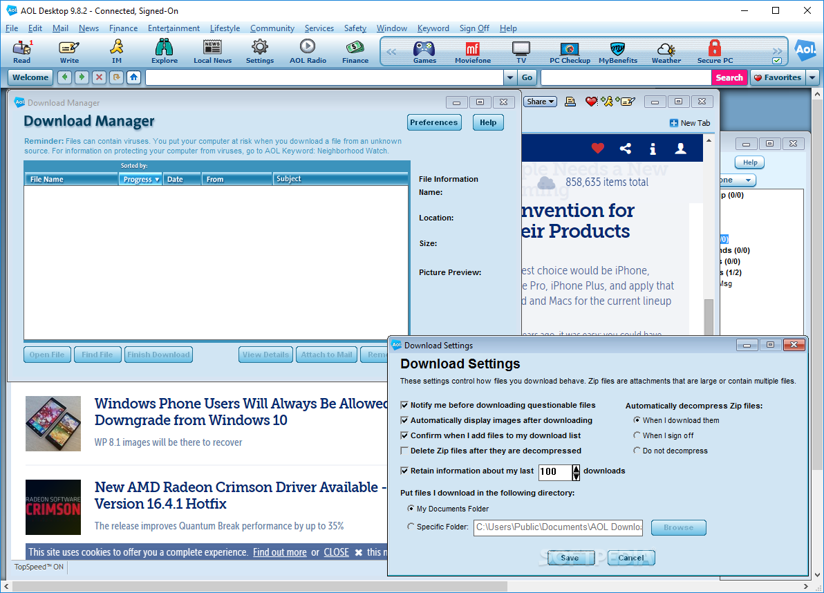 Aol Desktop Download Free With Screenshots And Review