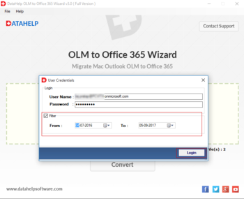 DataHelp OLM to Office365 Wizard screenshot