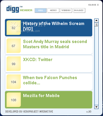 Digg RSS Reader screenshot