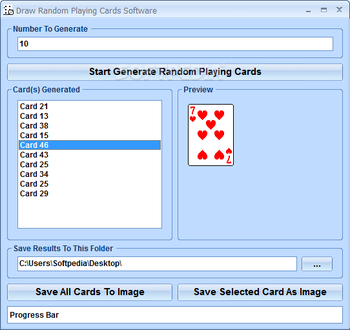 Draw Random Playing Cards Software screenshot
