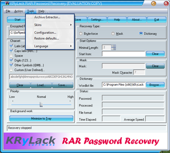 KRyLack RAR Password Recovery screenshot 2