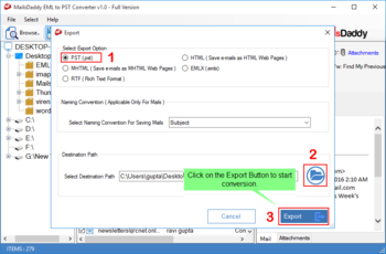 MailsDaddy EML to PST Converter screenshot