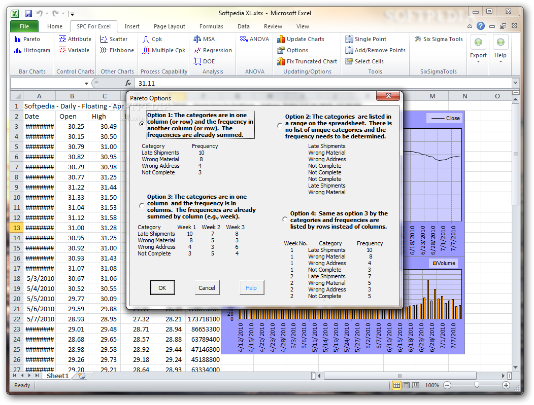 QI Macros SPC Software for Excel allows you to analyze data in a variety of  formats, including histograms with Cp and Cpk, Pareto charts, scatter  plots, ...