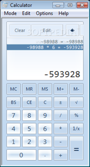 Windows7 Calculator screenshot