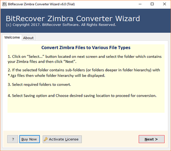Zimbra Converter Wizard screenshot